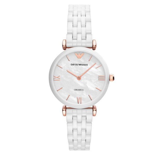 Emporio Armani  Ladies White Ceramic Gianni Watch - AR1486