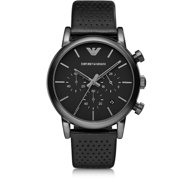 Emporio Armani Mens Black Leather Luigi Watch - AR1737
