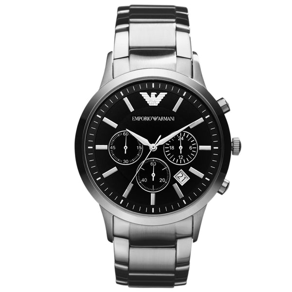 Emporio Armani Mens Black Silver Classic Chronograph Watch - AR2434
