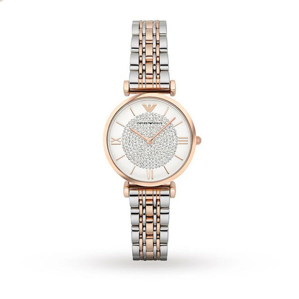 Emporio Armani Ladies Rose Gold x Silver Two Tone Retro Watch - AR1926