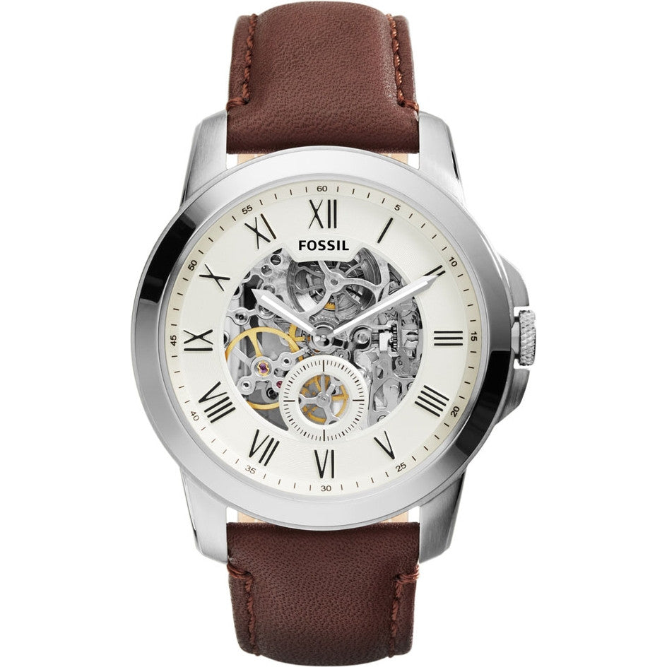 Fossil Mens  Brown Leather Strap Grant Watch - ME3099