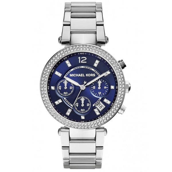 Michael Kors Ladies Silver x Navy Parker Watch - MK6117