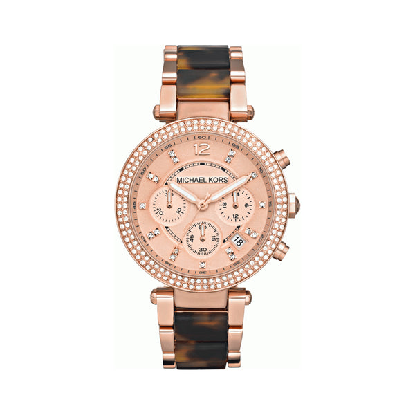Michael Kors Ladies Rose Gold x Tortoise Parker Watch - MK5538