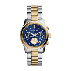 Michael Kors Ladies Silver x Gold x Navy Runway Watch - MK6165