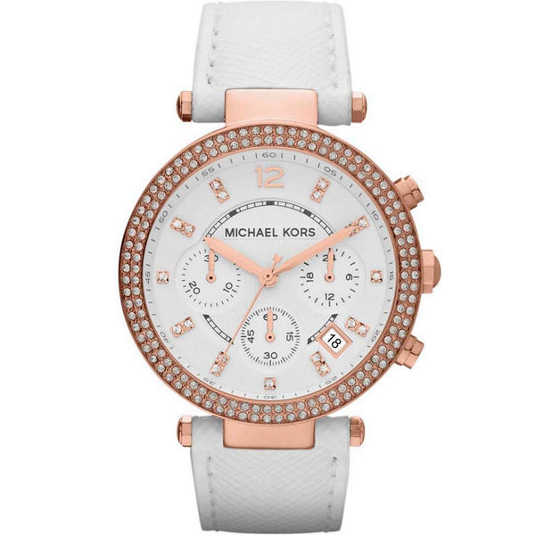 Michael Kors Ladies White x Rose Gold Parker Watch - MK2281