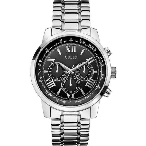Guess Mens Silver x Black Horizon Chronograph Watch - W0379G1