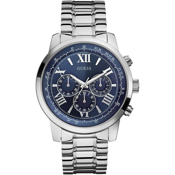 Guess Mens Silver x Blue Horizon Chronograph Watch - W0379G3