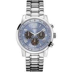 Guess Mens Silver x Blue Sunray Chronograph Watch - W0379G6
