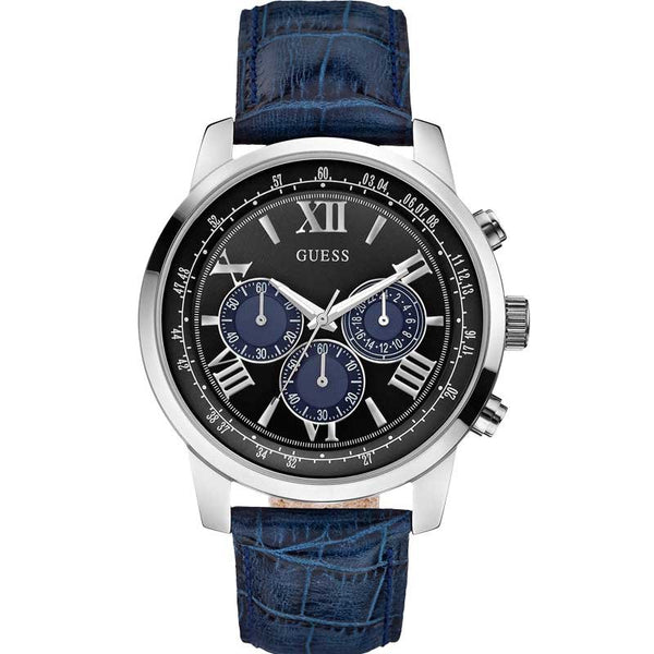 Guess Mens Blue Leather Chronograph Watch - W0380G3