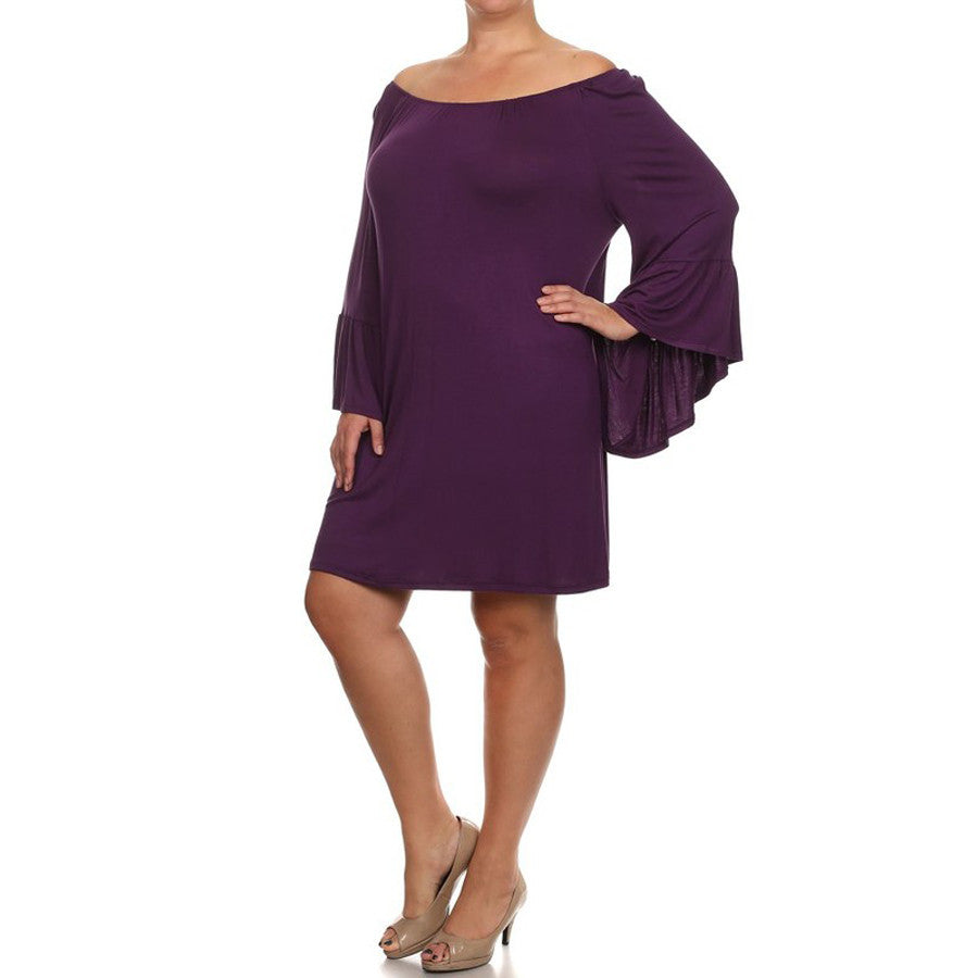 Final Sale! Ruffled Sleeve Boatneck Midi Dress - Plus Size - Plum ...