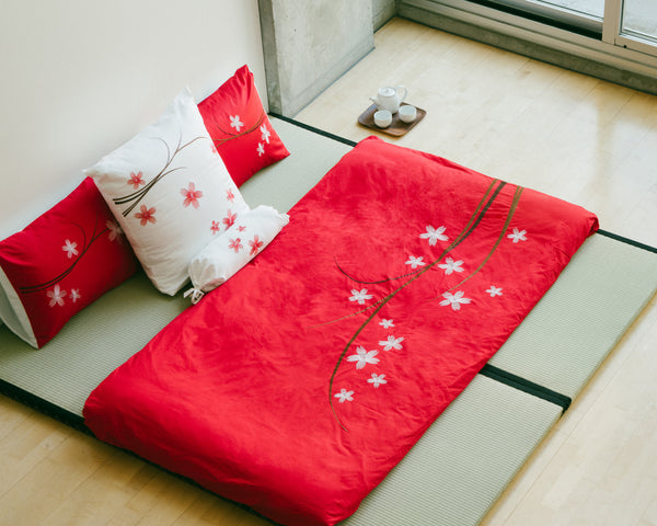 Sakura Red Duvet Cover Set