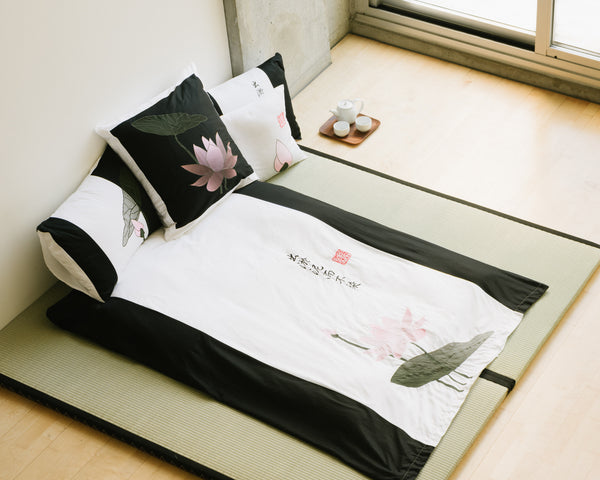 Lotus Black Duvet Cover Set