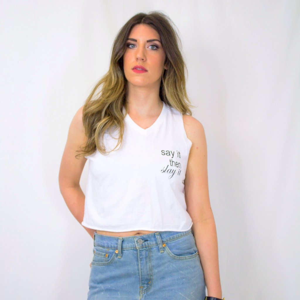 "Kiera ""Slay it"" Cropped Tank"