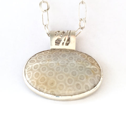 Reversible Fossilized Coral Pendant