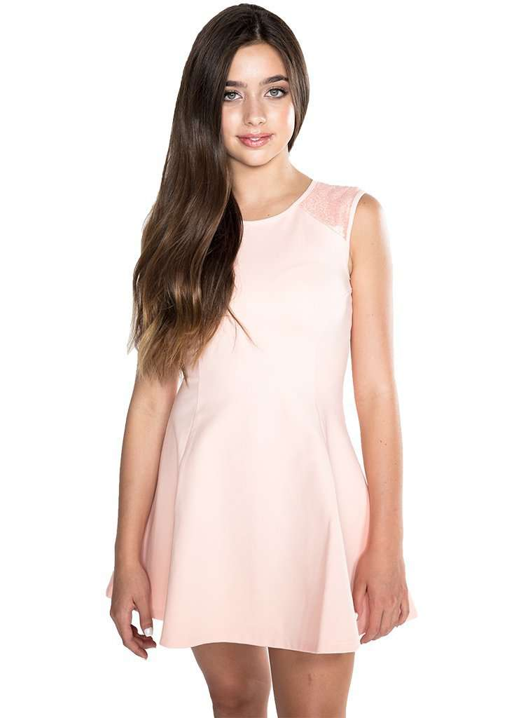 Patricia Fit & Flair Sequin Shoulder - Dress - Teen Girls Clothing fashion - Miss Behave Girls