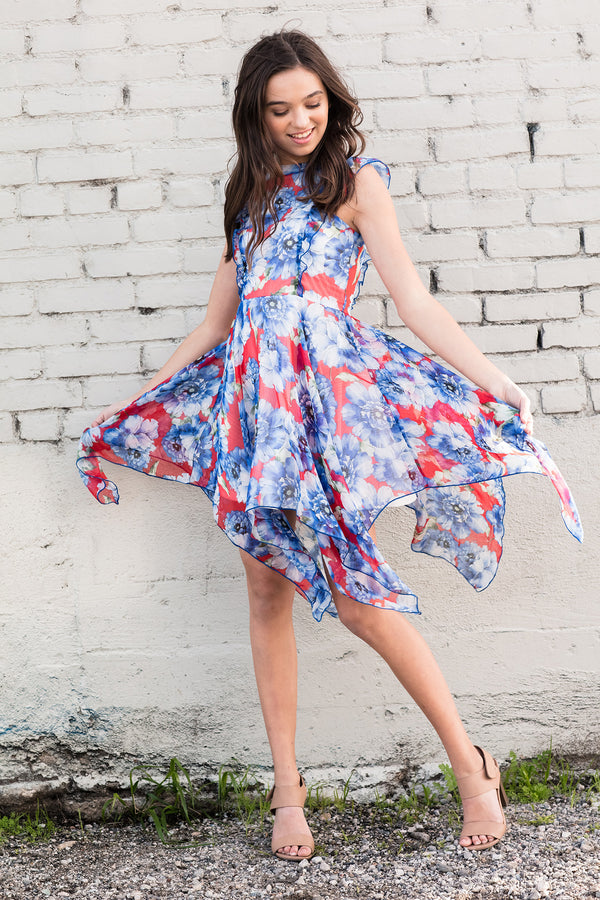 DIANA High/Low Chiffon Floral Dress
