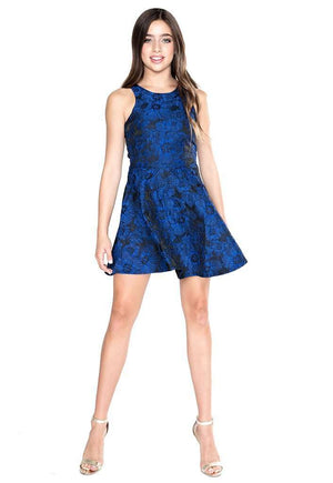 Heather Flower Jacquard Fit & Flare - Dress - Teen Girls Clothing fashion - Miss Behave Girls
