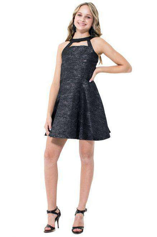 Zia Faux Leather Tulle Cocktail Dress