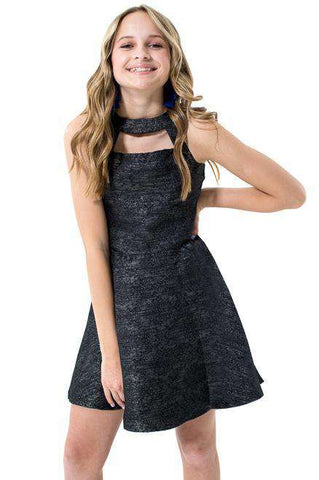 Harper Cut Out Lurex Jacquard Dress - Dress - Teen Girls Clothing fashion - Miss Behave Girls