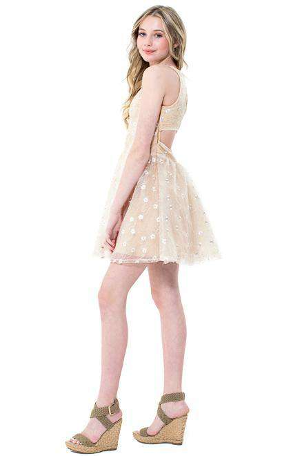 Josie Cut out Lace Tulle Dress - Dress - Teen Girls Clothing fashion - Miss Behave Girls