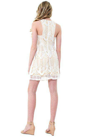 HINDI Crochet Lace Fit & Flare Dress - Dress - Teen Girls Clothing fashion - Miss Behave Girls