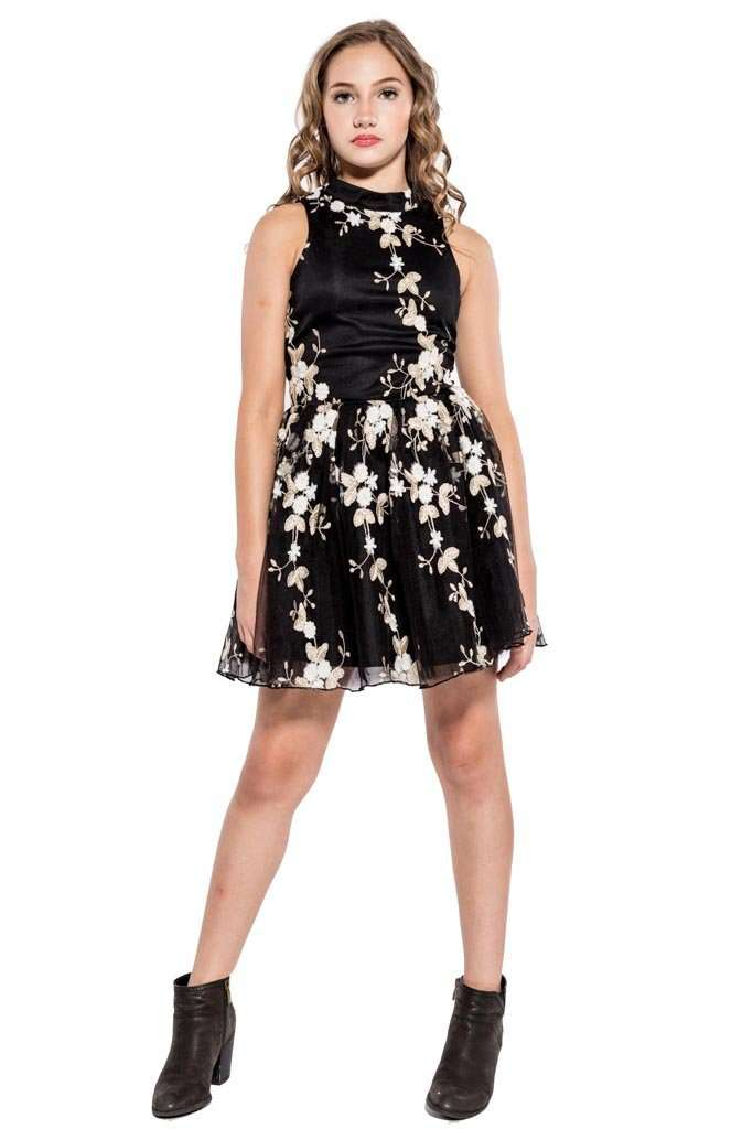 Grace Floral Embroidery Dress - Dress - Teen Girls Clothing fashion - Miss Behave Girls