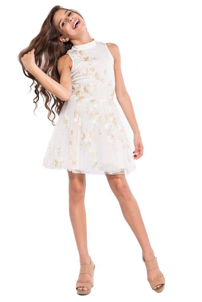 Grace Flower Embroidery Dress - Dress - Teen Girls Clothing fashion - Miss Behave Girls