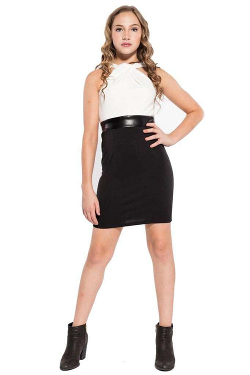 Ayesha Crossover Haltered Fitted Dress - Dress - Teen Girls Clothing fashion - Miss Behave Girls