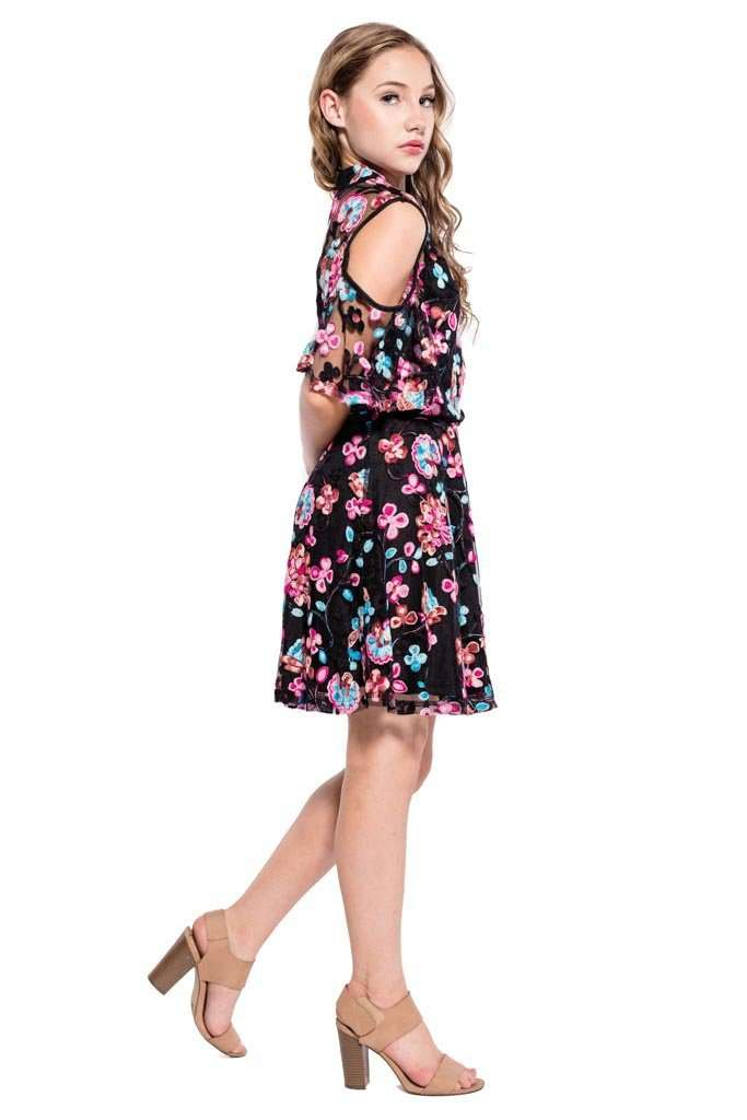 Kathleen Cold Shoulder Floral Embroidery Lace Dress - Dress - Teen Girls Clothing fashion - Miss Behave Girls