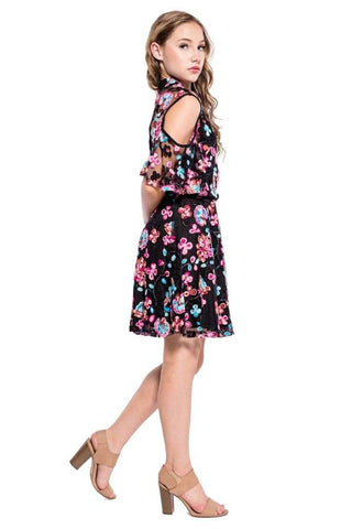 Prudence High/Low Embroidery Floral Dress