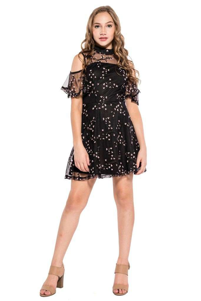 Kathleen Cold Shoulder Embroidery Dress - Dresses - Teen Girls Clothing fashion - Miss Behave Girls