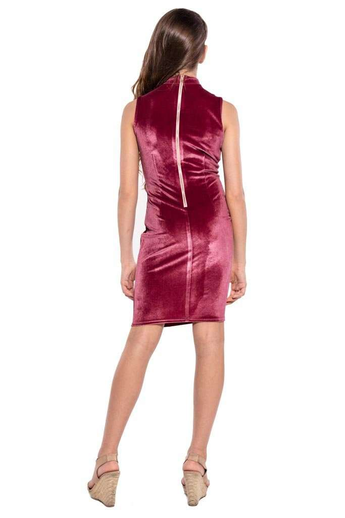 Tiffany Knotted Front Velvet Dress - Dress - Teen Girls Clothing fashion - Miss Behave Girls