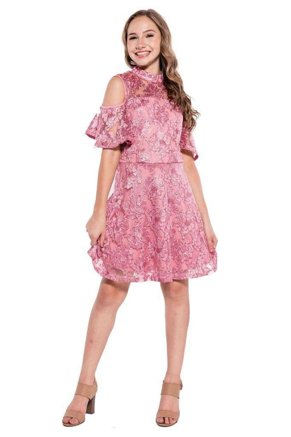 Kathleen Lace Cold Shoulder Dress - Dress - Teen Girls Clothing fashion - Miss Behave Girls