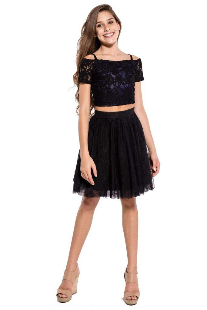 Thea Cold Shoulder Top & Tulle Skirt Set - Dresses - Teen Girls Clothing fashion - Miss Behave Girls