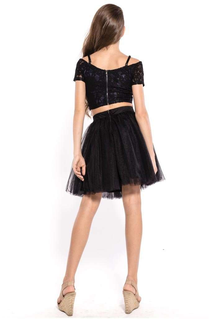 Thea Cold Shoulder Top & Tulle Skirt Set