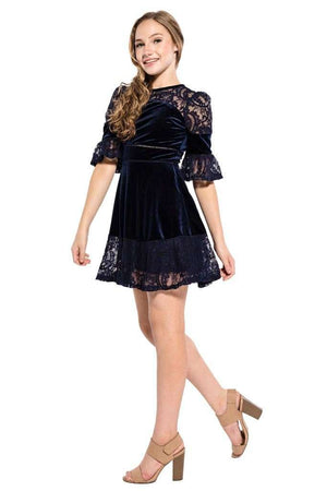 Lilia Lace Velvet Party Dress - Dress - Teen Girls Clothing fashion - Miss Behave Girls