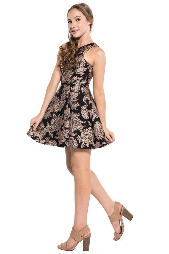 Lexi Floral Jacquard Open Back Dress - Dress - Teen Girls Clothing fashion - Miss Behave Girls