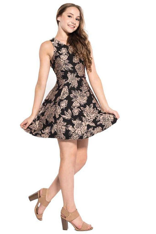Kathleen Cold Shoulder Floral Embroidery Lace Dress