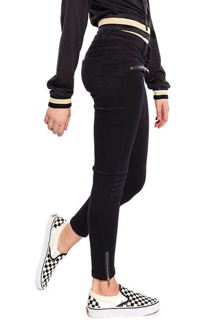 Button Fly Mid-Rise Waist  Black Jeans