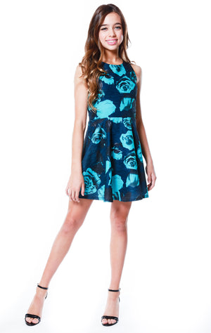 BETTY Floral T-Back Fit & Flare Dress