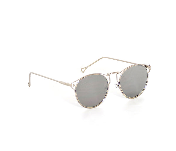 Oval Metal Framed Mirror Sunglasses