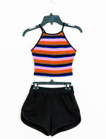 TRISHA Racerback Tank Paired With Dolphin Shorts