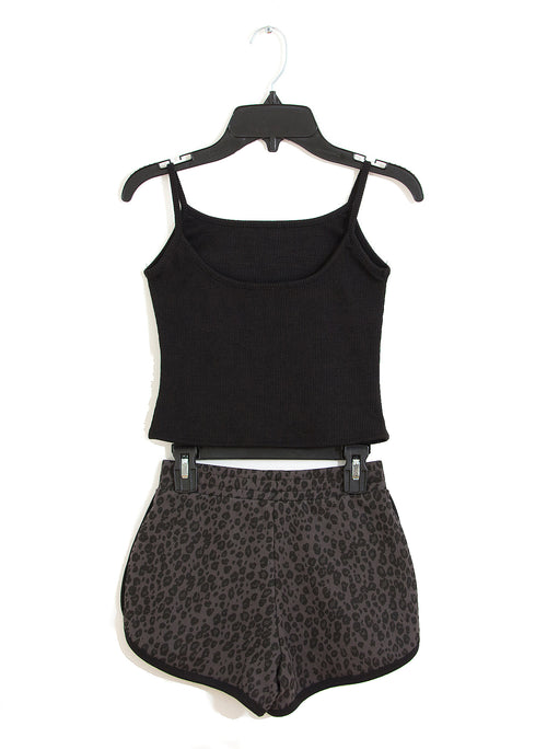 TINA Cropped Scoop Neck Top Pair with Dolphin Shorts