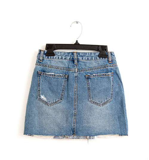 Ripped Denim Miniskirt