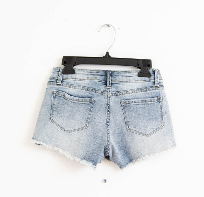 Stretch Cut Off Jean Shorts Light Indigo