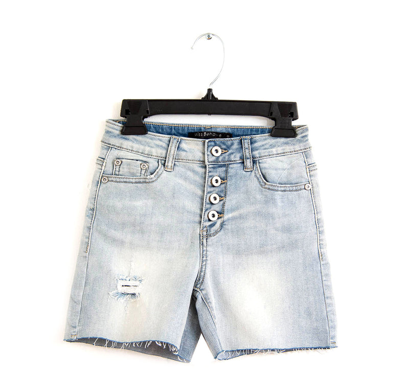 Button Fly Distressed CUT-OFF Denim Shorts