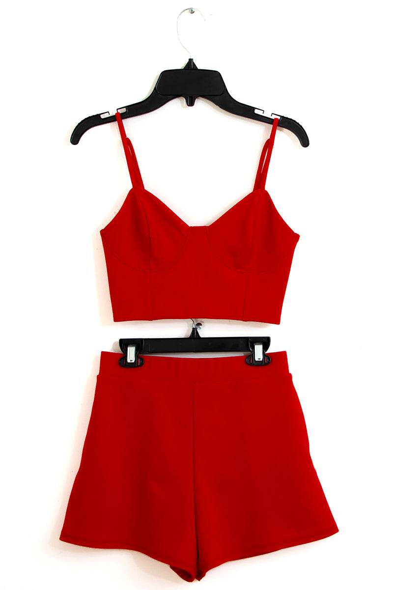 SANDY Bustier Cropped Top & Shorts 2 Piece SET