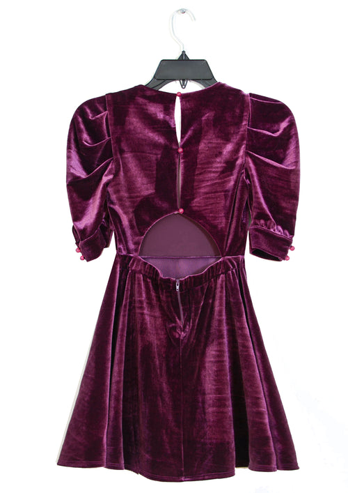 CASSANDRA VELVET Puff Sleeves Open Back  Dress