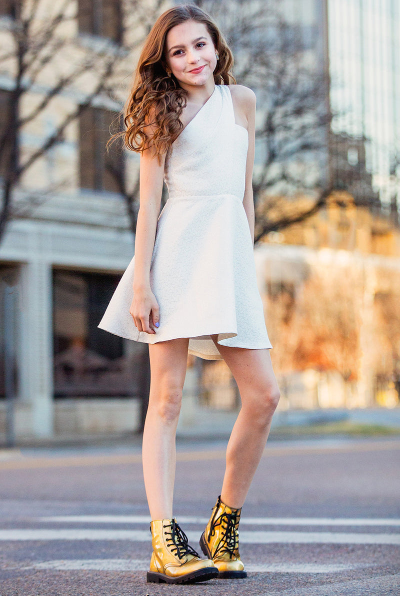 EMMA One Shoulder Skater Jacquard Dress
