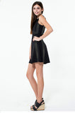 CLAIRE Color Block Faux Leather Skater Dress